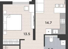 1-ком. квартира на продажу, 43.4 м2, Калининград, Московский район